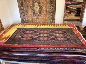 Antikt turkmensk Saryk chuval tæppe m. silke